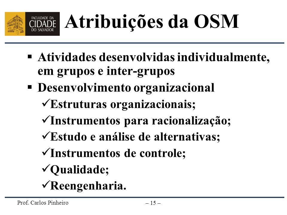 Atribuições da OSM Atividades desenvolvidas individualmente, em grupos e inter-grupos. Desenvolvimento organizacional.
