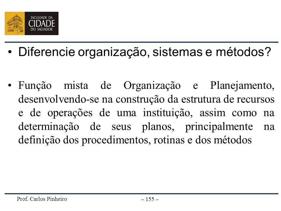 Diferencie organização, sistemas e métodos