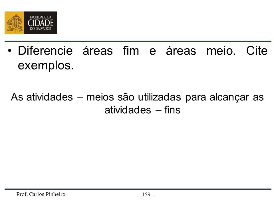Diferencie áreas fim e áreas meio. Cite exemplos.