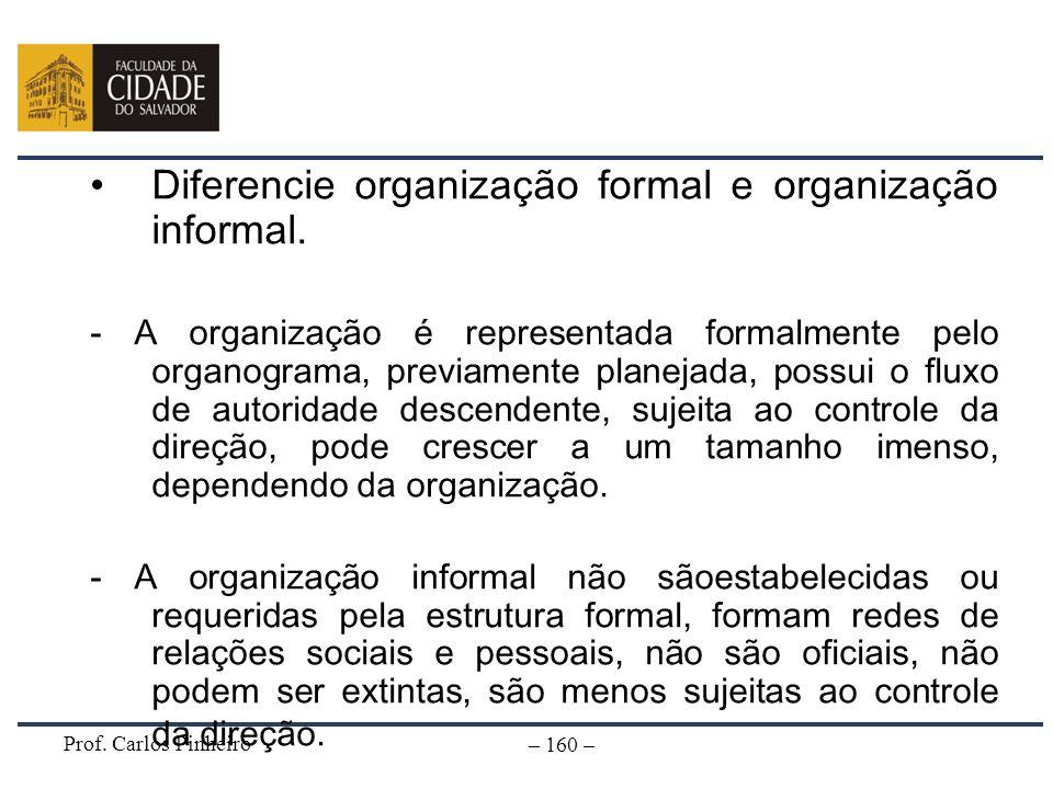 Diferencie organização formal e organização informal.