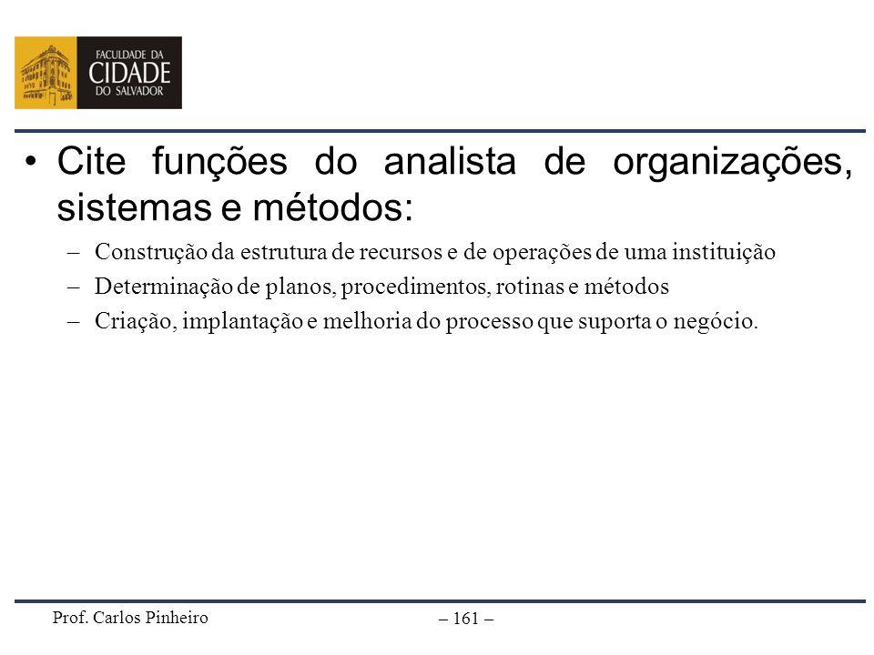 Cite funções do analista de organizações, sistemas e métodos: