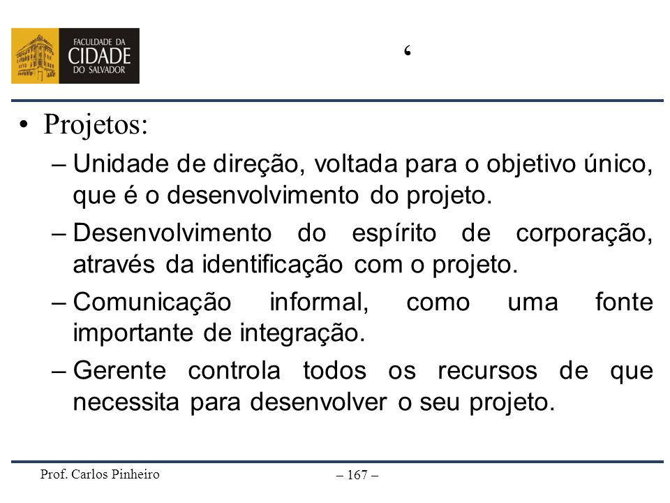 ' Projetos: Unidade de direção, voltada para o objetivo único, que é o desenvolvimento do projeto.