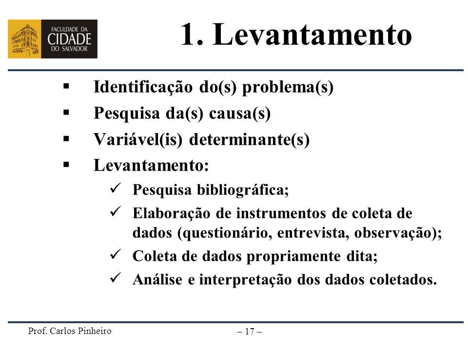 1. Levantamento Identificação do(s) problema(s)