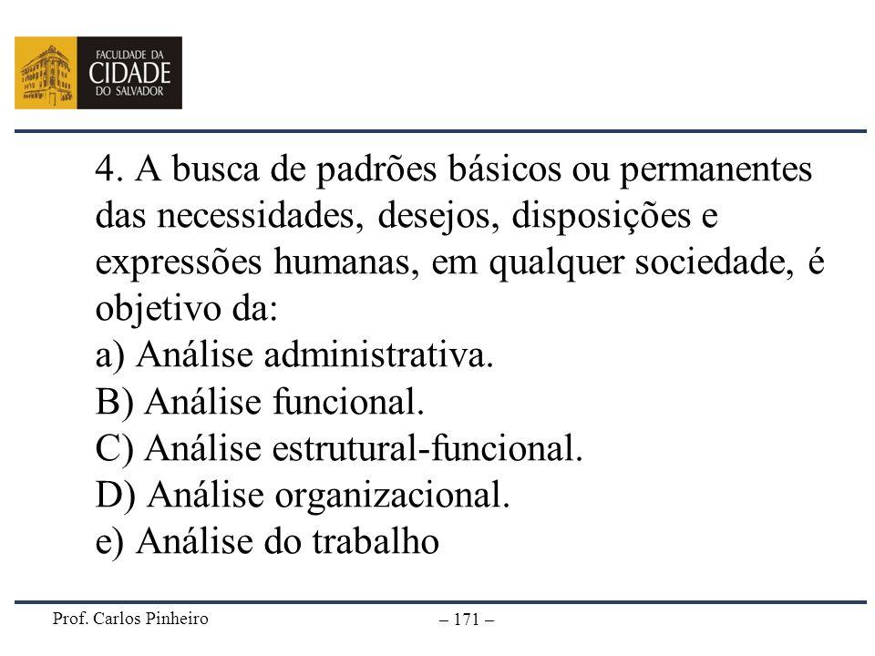 4. A busca de padrões básicos ou permanentes das necessidades, desejos, disposições e expressões humanas, em qualquer sociedade, é objetivo da: a) Análise administrativa. B) Análise funcional. C) Análise estrutural-funcional. D) Análise organizacional. e) Análise do trabalho