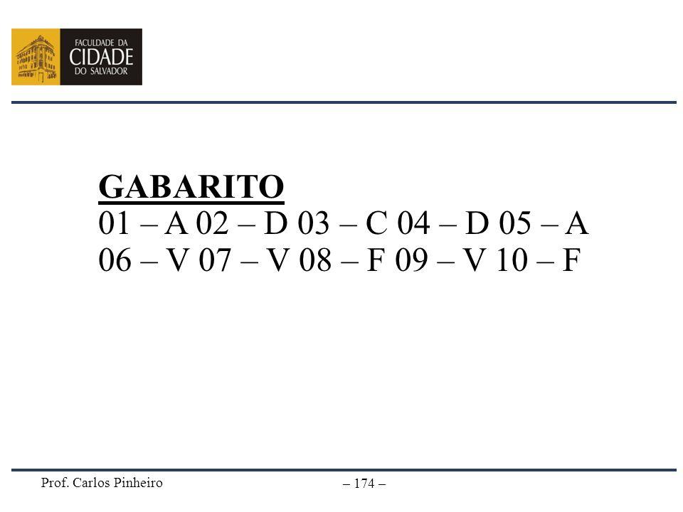 GABARITO 01 – A 02 – D 03 – C 04 – D 05 – A 06 – V 07 – V 08 – F 09 – V 10 – F