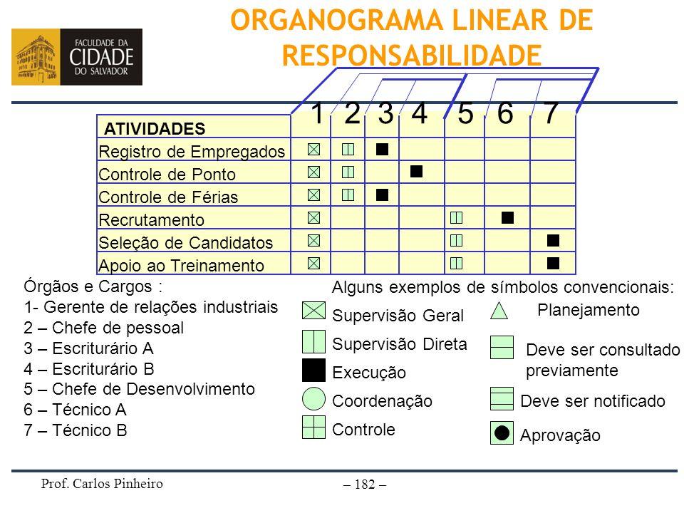 ORGANOGRAMA LINEAR DE RESPONSABILIDADE