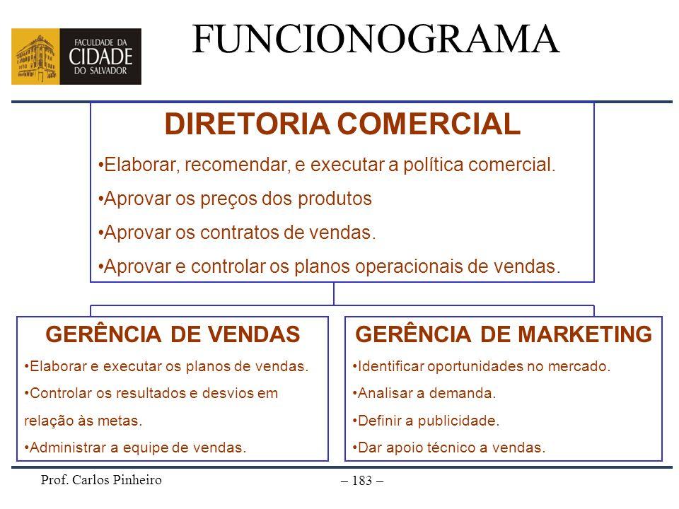 FUNCIONOGRAMA DIRETORIA COMERCIAL GERÊNCIA DE VENDAS