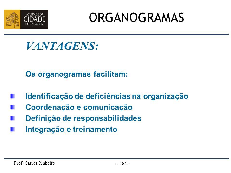 ORGANOGRAMAS VANTAGENS: Os organogramas facilitam: