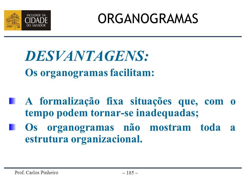 DESVANTAGENS: ORGANOGRAMAS Os organogramas facilitam: