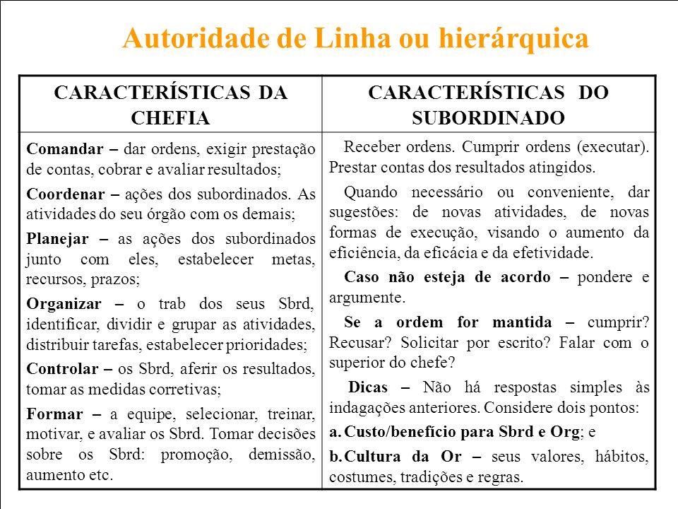 CARACTERÍSTICAS DA CHEFIA CARACTERÍSTICAS DO SUBORDINADO