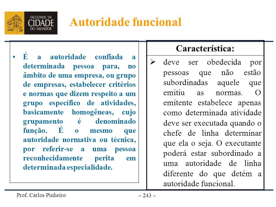 Autoridade funcional Característica: