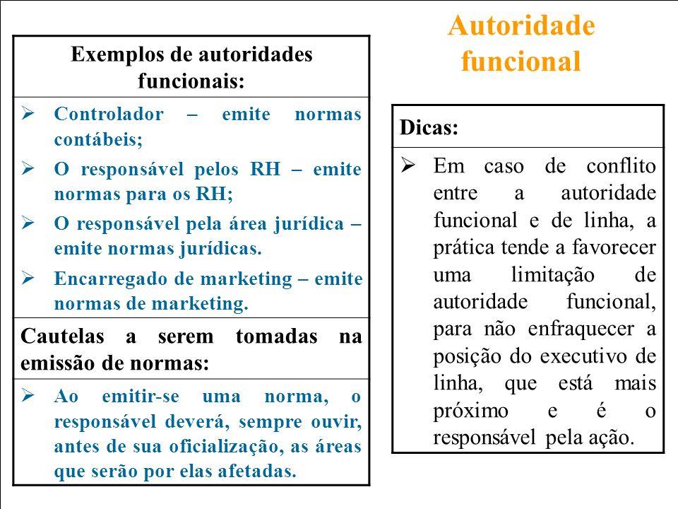 Exemplos de autoridades funcionais:
