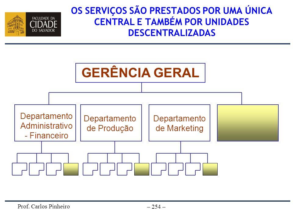OS SERVIÇOS SÃO PRESTADOS POR UMA ÚNICA CENTRAL E TAMBÉM POR UNIDADES DESCENTRALIZADAS