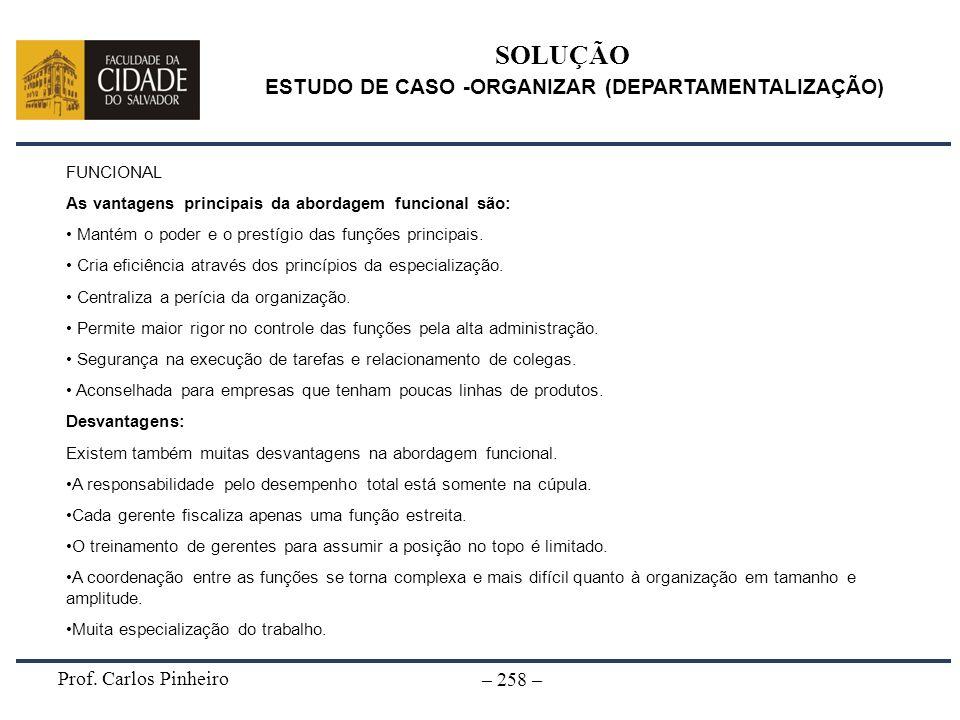 ESTUDO DE CASO -ORGANIZAR (DEPARTAMENTALIZAÇÃO)