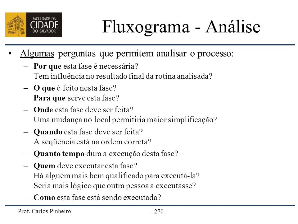 Fluxograma - AnáliseAlgumas perguntas que permitem analisar o processo: