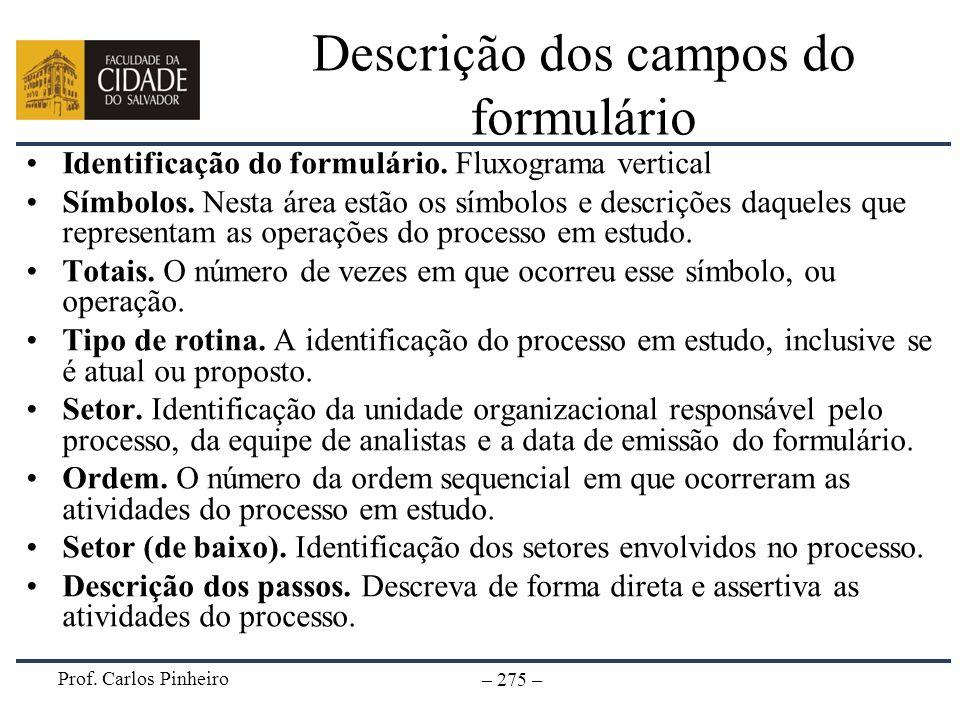 Descrição dos campos do formulário