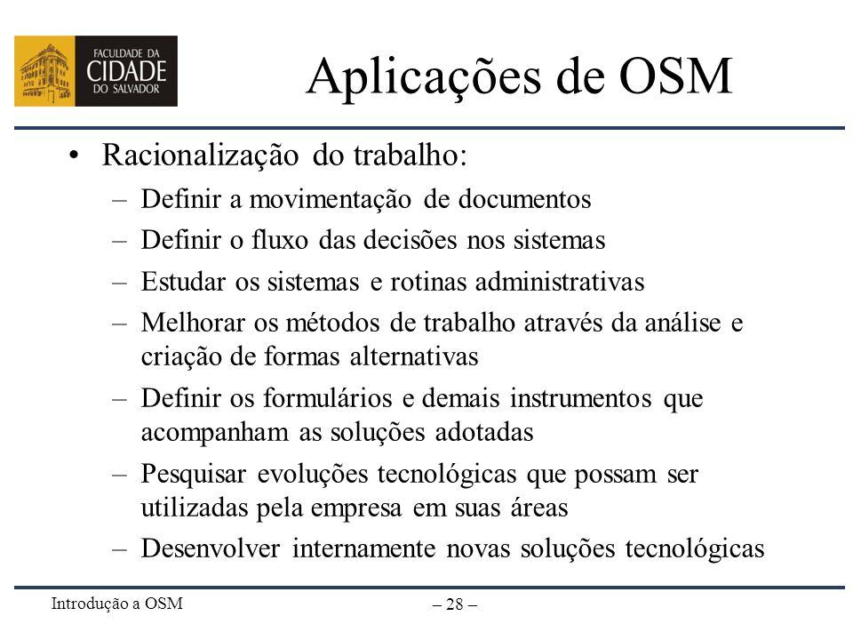 Aplicações de OSM Racionalização do trabalho:
