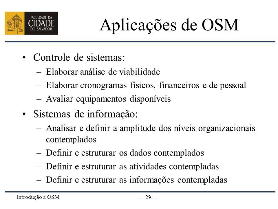 Aplicações de OSM Controle de sistemas: Sistemas de informação: