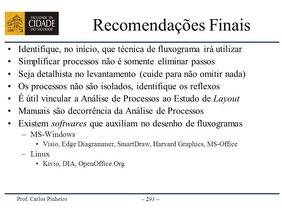 Recomendações Finais Identifique, no início, que técnica de fluxograma irá utilizar. Simplificar processos não é somente eliminar passos.