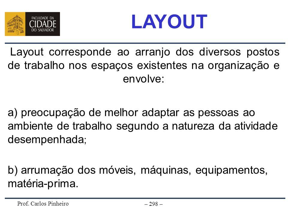 LAYOUTLayout corresponde ao arranjo dos diversos postos de trabalho nos espaços existentes na organização e envolve: