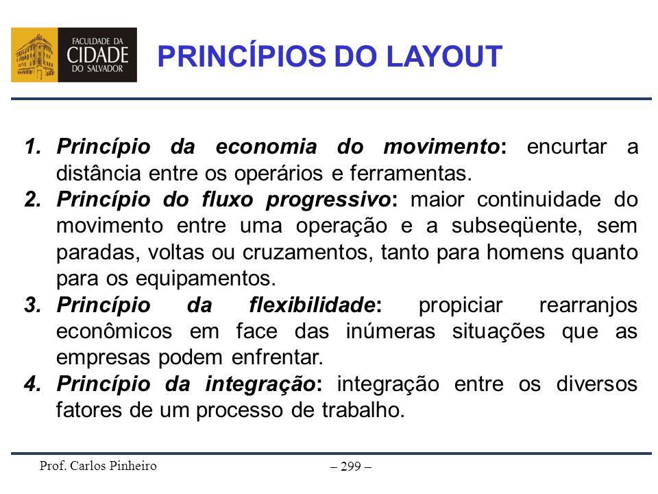 PRINCÍPIOS DO LAYOUTPrincípio da economia do movimento: encurtar a distância entre os operários e ferramentas.