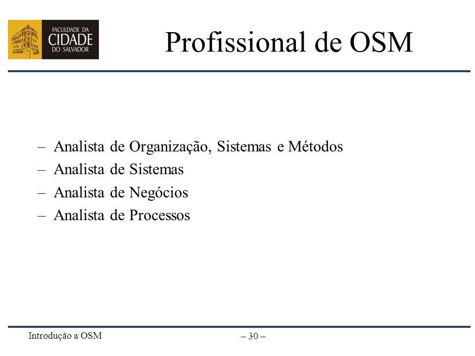 Profissional de OSM Analista de Organização, Sistemas e Métodos