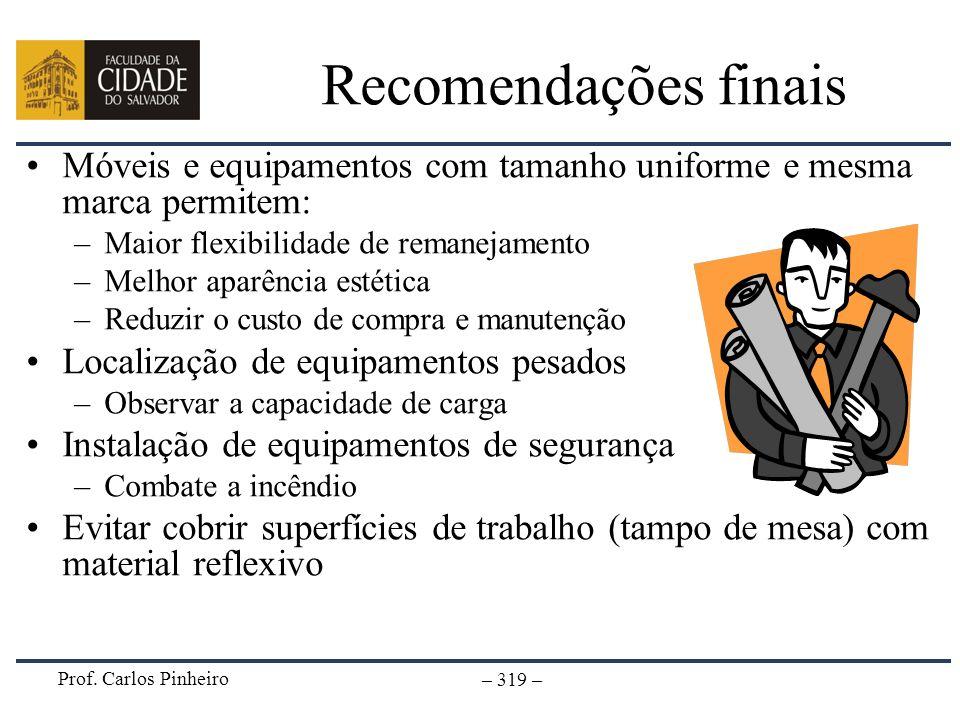 Recomendações finaisMóveis e equipamentos com tamanho uniforme e mesma marca permitem: Maior flexibilidade de remanejamento.