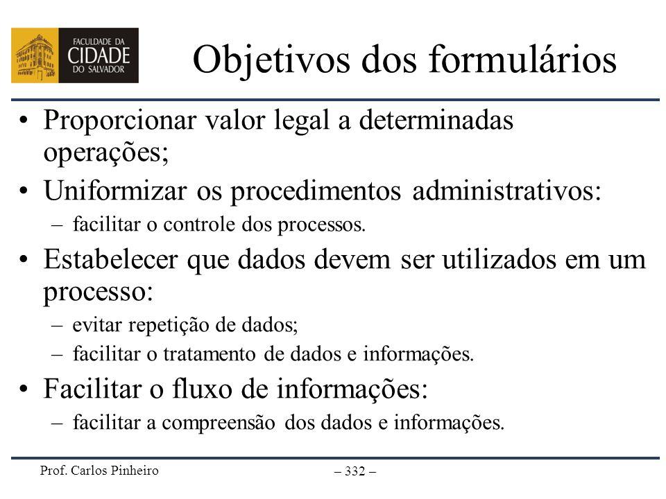 Objetivos dos formulários