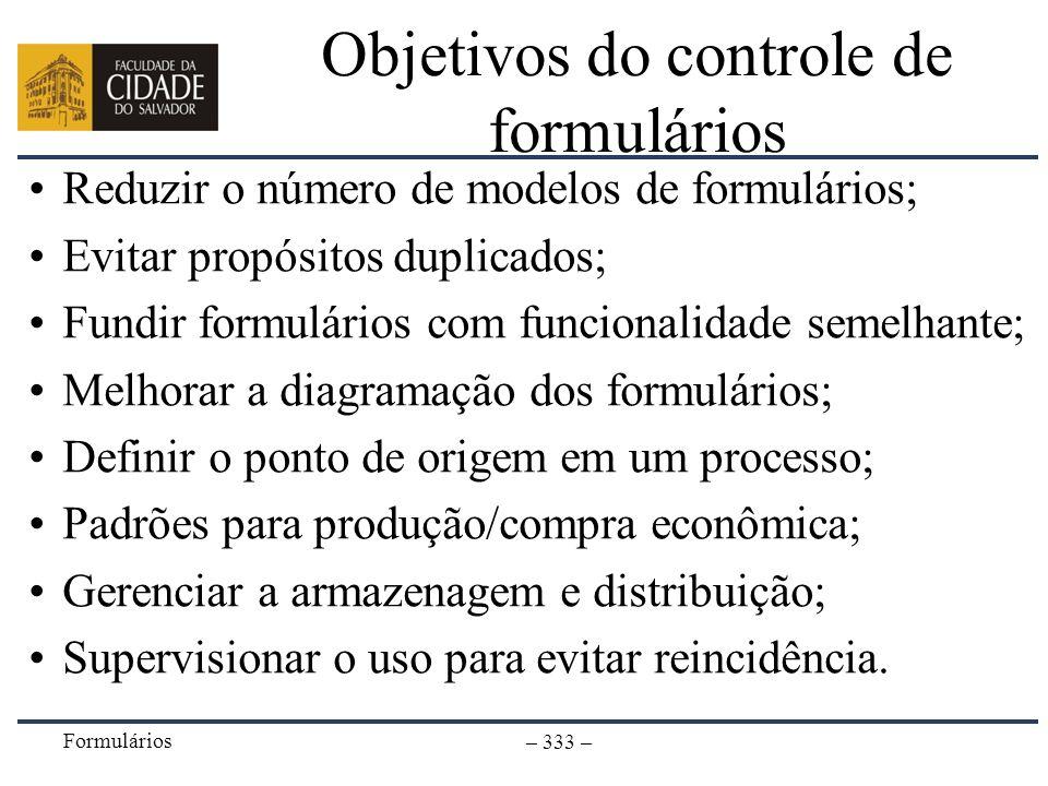 Objetivos do controle de formulários