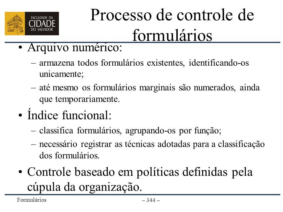 Processo de controle de formulários