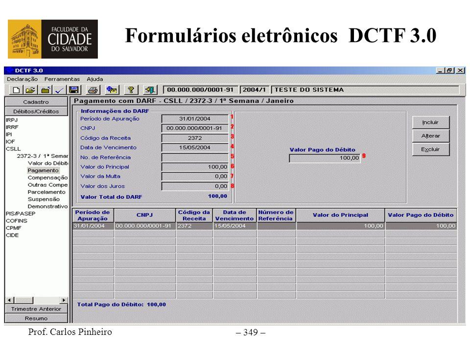 Formulários eletrônicos DCTF 3.0