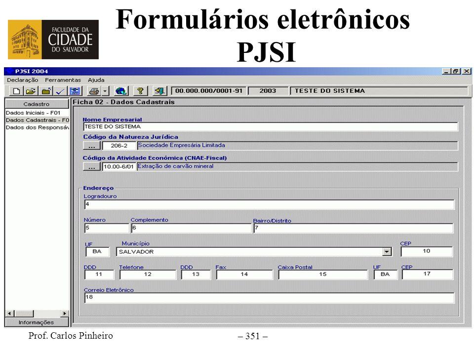 Formulários eletrônicos PJSI