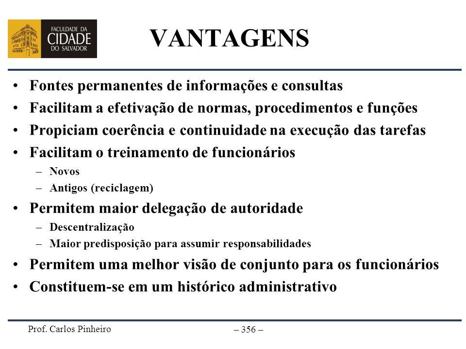 VANTAGENS Fontes permanentes de informações e consultas