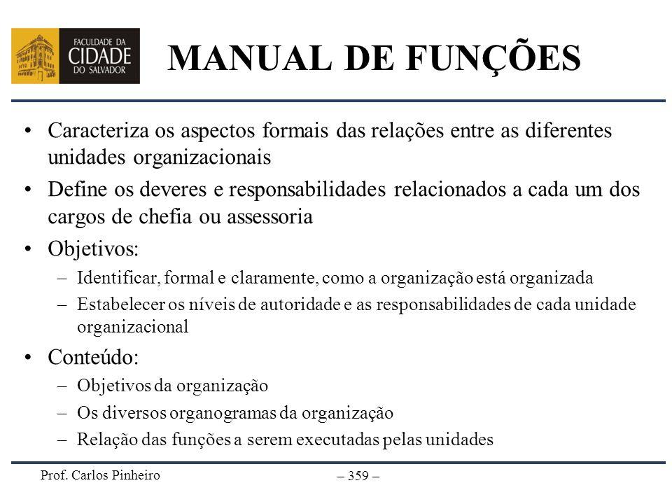 MANUAL DE FUNÇÕES Caracteriza os aspectos formais das relações entre as diferentes unidades organizacionais.