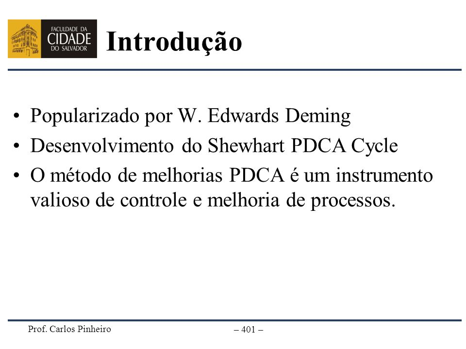 Introdução Popularizado por W. Edwards Deming