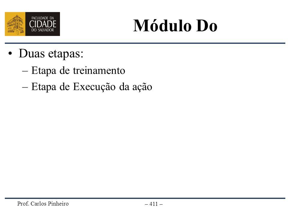 Módulo Do Duas etapas: Etapa de treinamento Etapa de Execução da ação