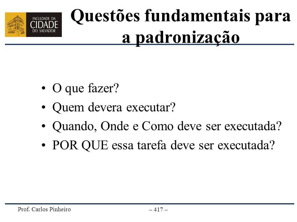 Questões fundamentais para a padronização