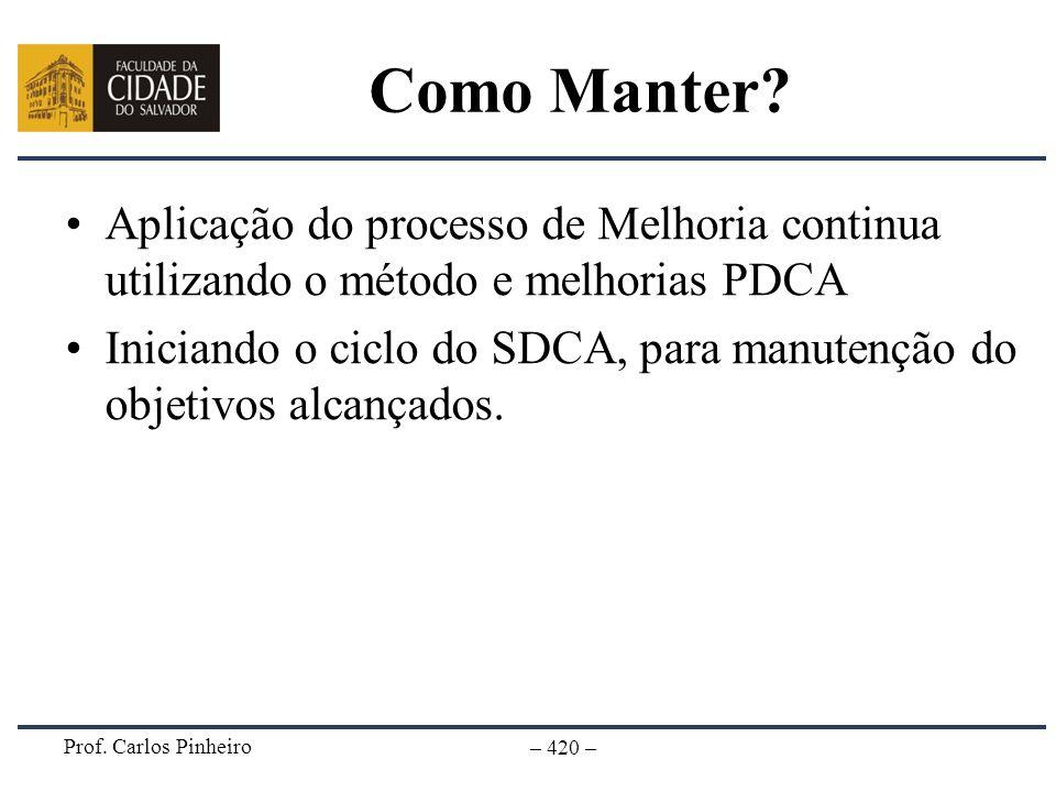 Como Manter Aplicação do processo de Melhoria continua utilizando o método e melhorias PDCA.