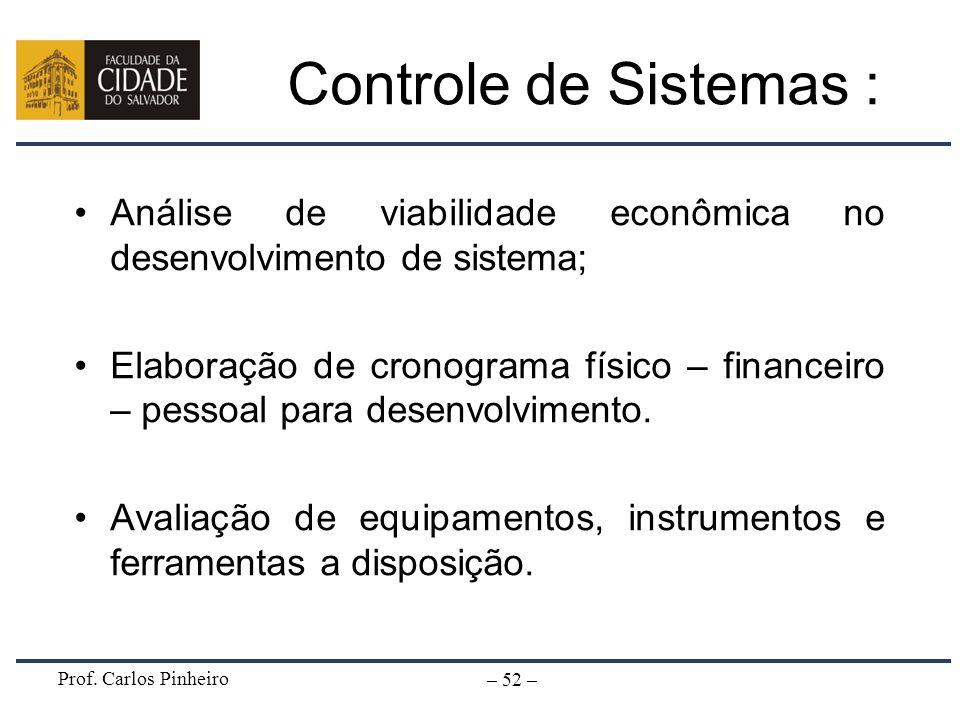 Controle de Sistemas :Análise de viabilidade econômica no desenvolvimento de sistema;