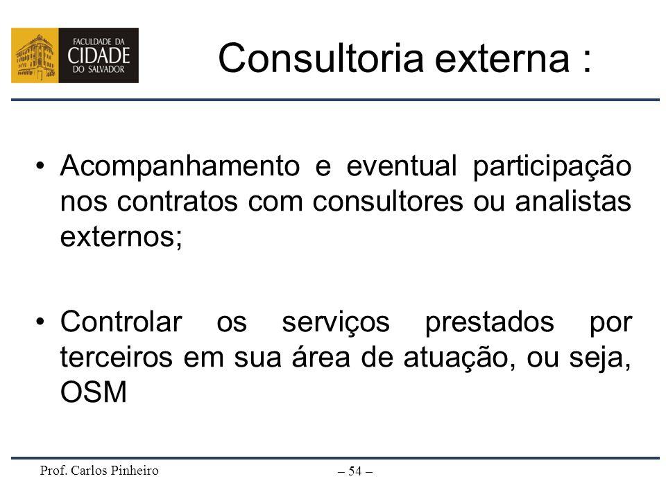 Consultoria externa : Acompanhamento e eventual participação nos contratos com consultores ou analistas externos;