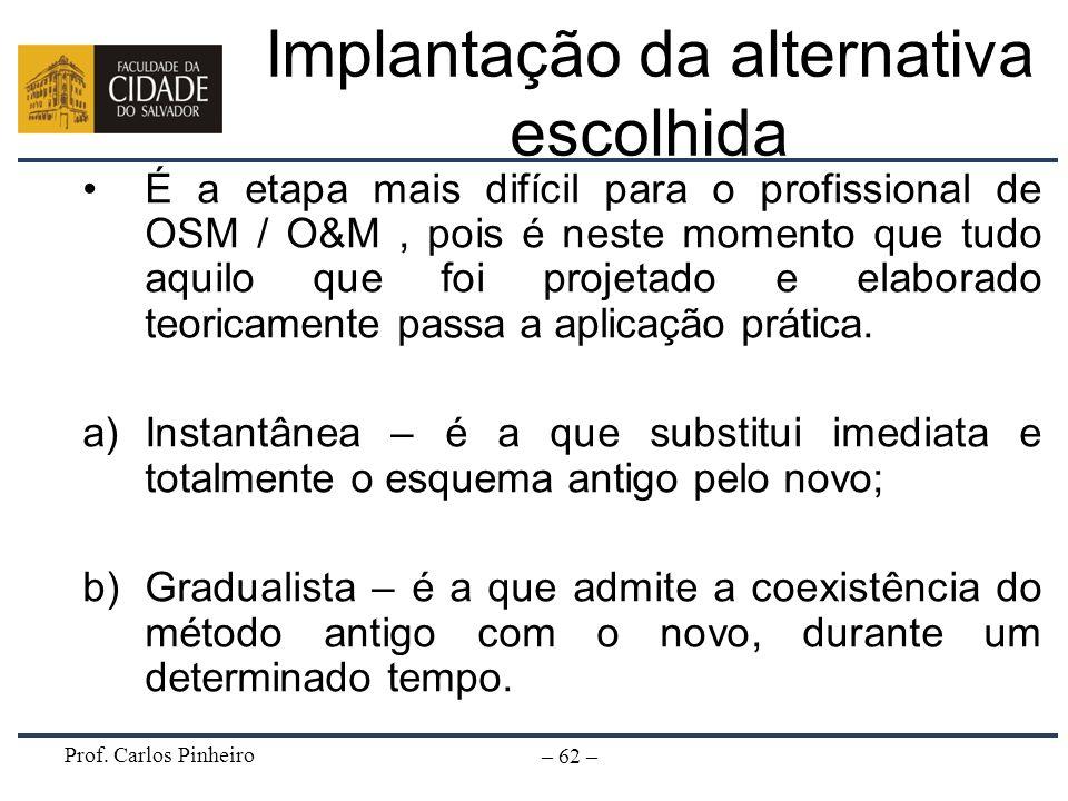 Implantação da alternativa escolhida