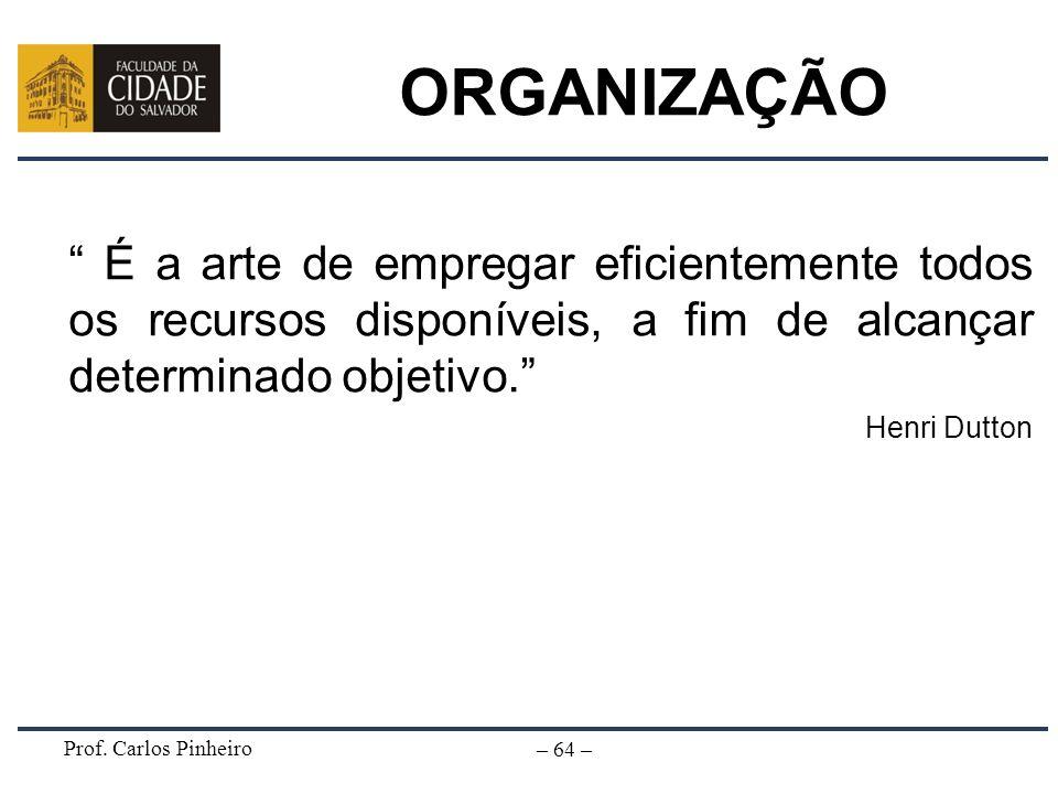 ORGANIZAÇÃO É a arte de empregar eficientemente todos os recursos disponíveis, a fim de alcançar determinado objetivo.