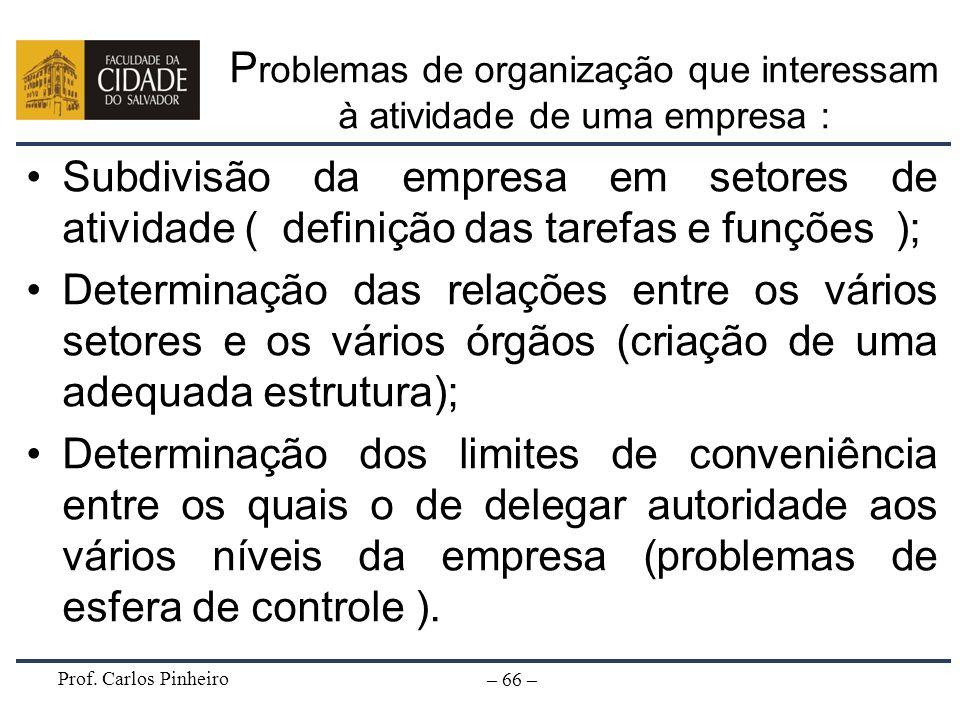 Problemas de organização que interessam à atividade de uma empresa :