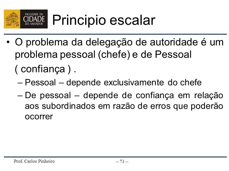 Principio escalarO problema da delegação de autoridade é um problema pessoal (chefe) e de Pessoal. ( confiança ) .