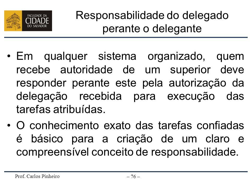 Responsabilidade do delegado perante o delegante