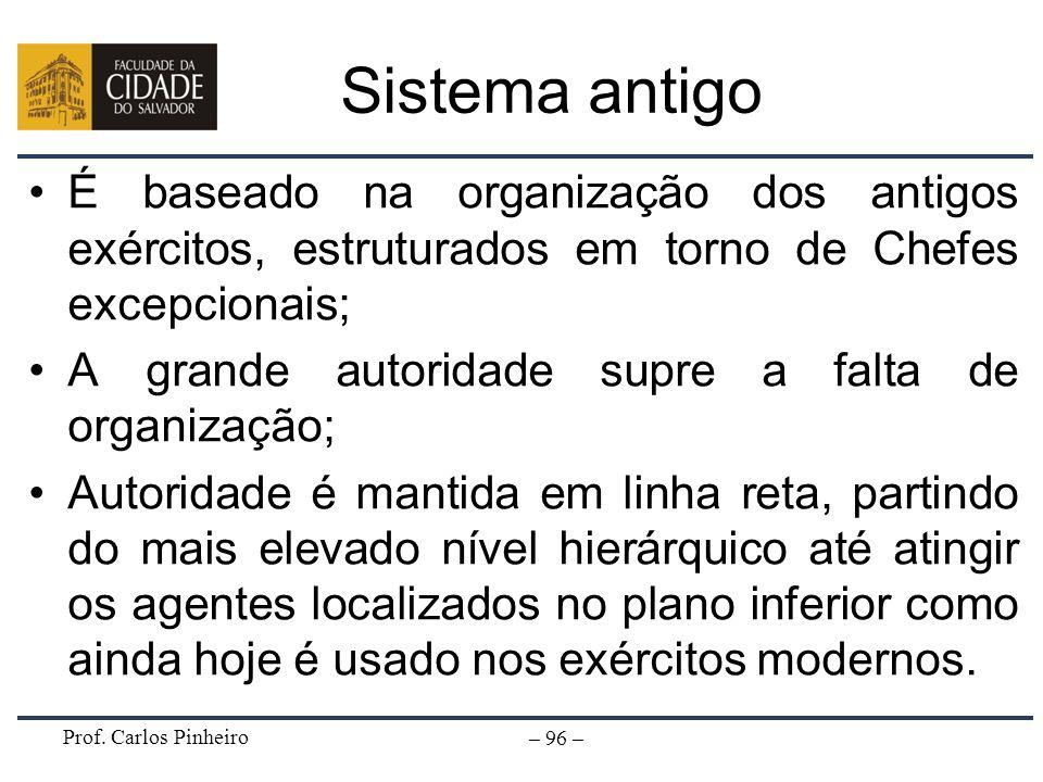 Sistema antigoÉ baseado na organização dos antigos exércitos, estruturados em torno de Chefes excepcionais;