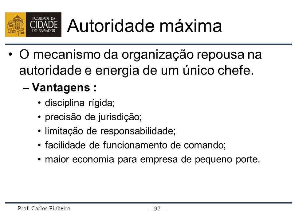 Autoridade máxima O mecanismo da organização repousa na autoridade e energia de um único chefe. Vantagens :