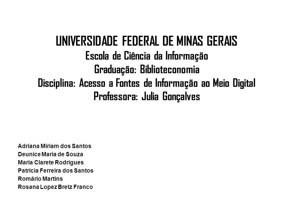 UNIVERSIDADE FEDERAL DE MINAS GERAIS Escola de Ciência da Informação Graduação: Biblioteconomia Disciplina: Acesso a Fontes de Informação ao Meio Digital Professora: Julia Gonçalves