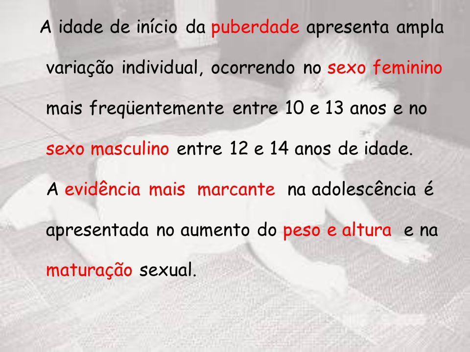 A idade de início da puberdade apresenta ampla variação individual, ocorrendo no sexo feminino mais freqüentemente entre 10 e 13 anos e no sexo masculino entre 12 e 14 anos de idade.
