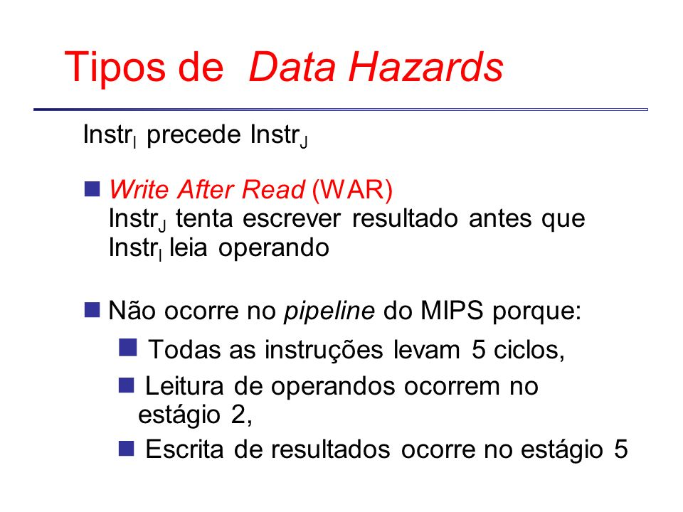 Tipos de Data Hazards Todas as instruções levam 5 ciclos,